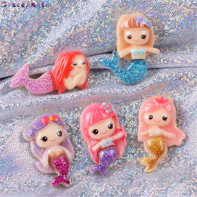 GraceAngie 12pcs Multi Color Resin Mermaid Shape Cartoon Charms Hair Accessories Ornament DIY Crafts Jewelry Making Findings