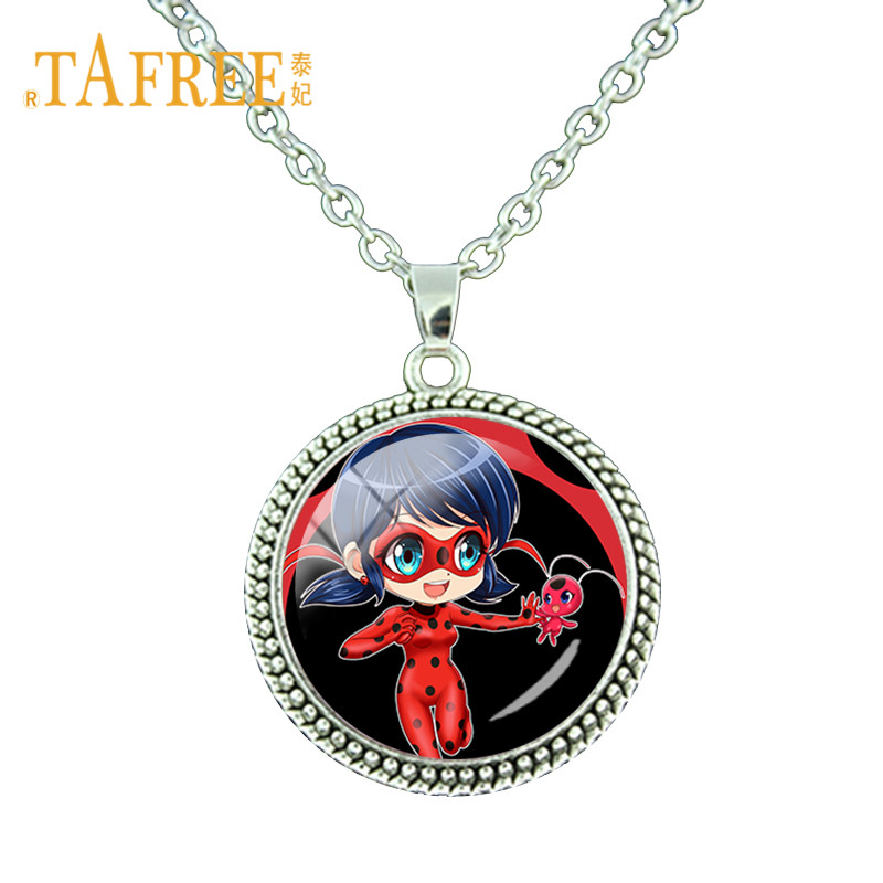 Cute Cartoon Miraculous Ladybug Necklace Ladybug Girl and Black Cat Lovers Necklace Fashion Jewelry Gift LB107