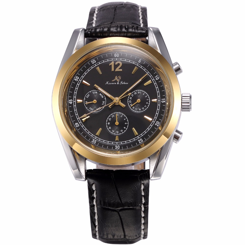 KS Golden Stainless Steel Case Automatic Mechanical Movement Analog Leather Strap Men Self Winding Casual Watches / KS172 50