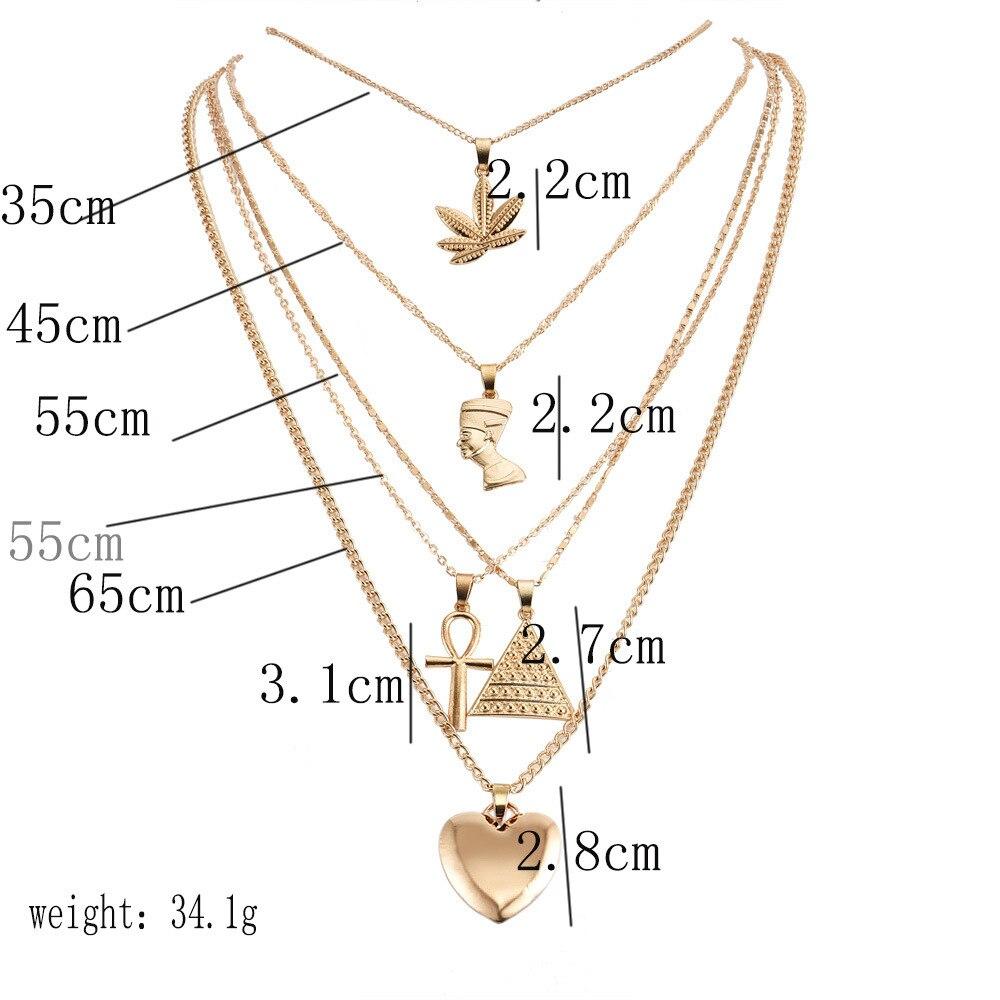 5Pcs/Set Women Punk Peach Heart Cross Triangle Leaf Portrait Pendant Multilayer Clavicle Chain Beach Necklaces Jewelry Gifts