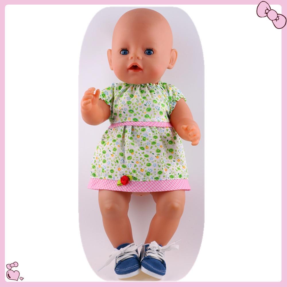 1pcs Green font b Dress b font clothes Clohes Wear fit 43cm Baby Born zapf Children