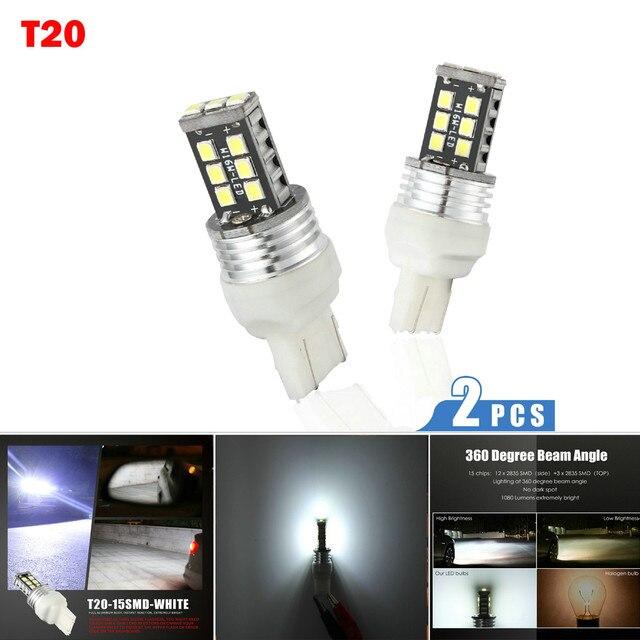 2x T20 W16W 15 SMD 4014 bombillas de luz LED de marcha atrás 6000K blancas para coches luz LED de intermitentes