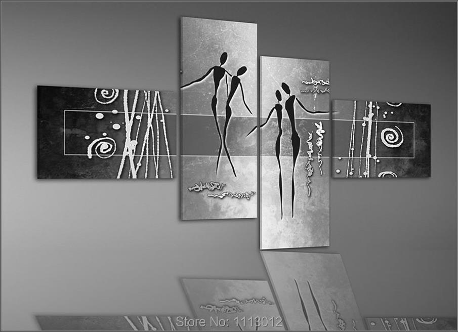 Black People Dancer Loving Line Oil Painting On Canvas 4 Panel Arts Set Modern Home Abstract Wall Decor Picture For Living Room In Calligraphy