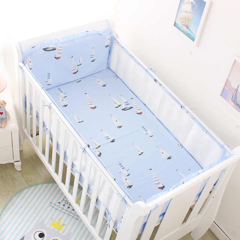 Дышащие летние 3D сетки детские кроватки Постельное белье парусник узор постельное белье 5 шт Детская кроватка бамперы
