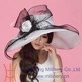 Бесплатная доставка женщины органзы Hat церковь Hat цветок мода женщин аксессуары необычные свадебные платья Hat большой цветок широкими полями элегантный