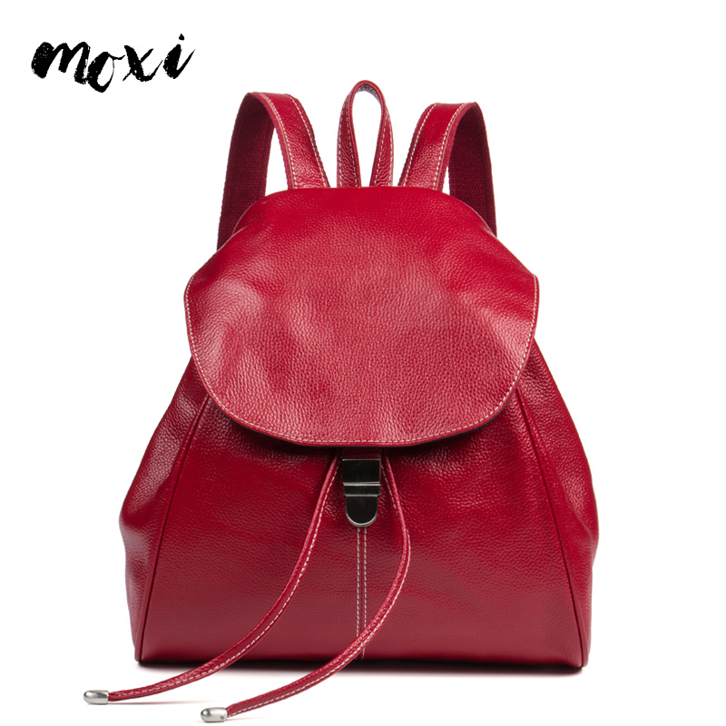 Moxi Women Daily Backpack Genuine Leather Backpack Female Brand High Quality Brand Travel Bag Ladies Student School Bag