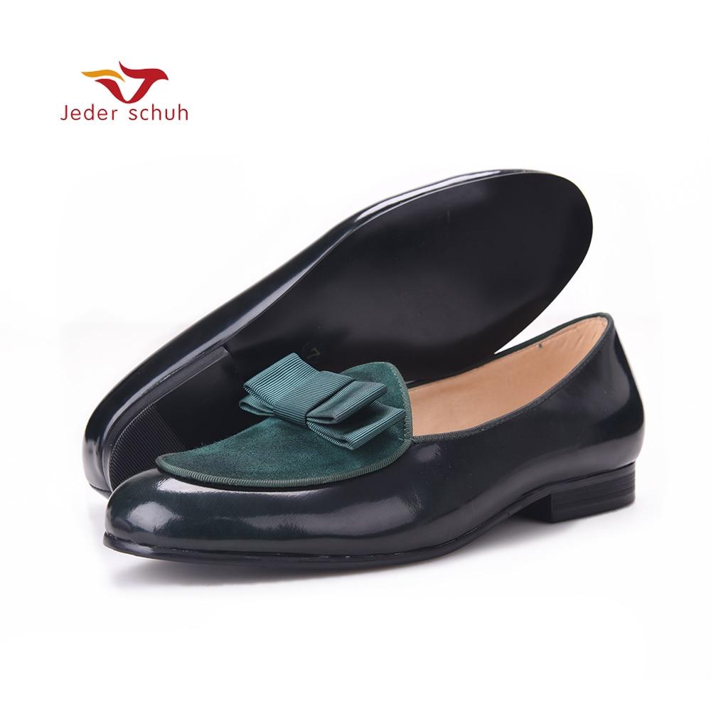 Для мужчин Лоферы сшивания кожи кожаные лоферы с бантом три цвета коллокации Свадебные и вечерние туфли таинственный темно зеленый