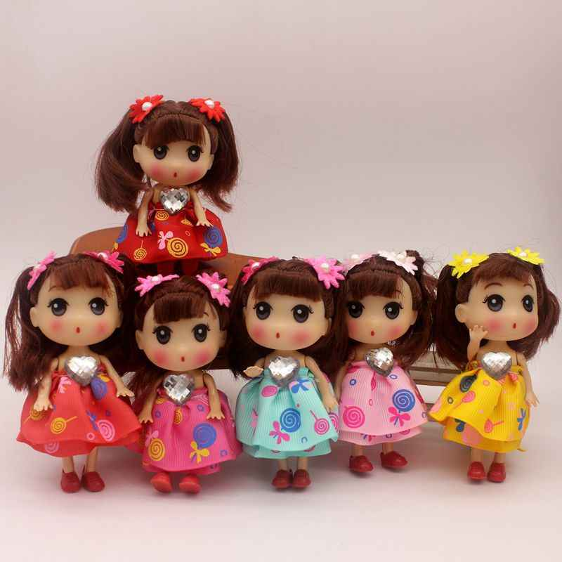 12CM black hair Princess bride confused doll fat baby key chain bag pendant wedding dress creative gift doll toy