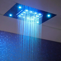 Dual Rain And Waterfall 2 Functions Shower Head 20 Inches Water Temperature RGB Color Changing Led Rain Shower Head