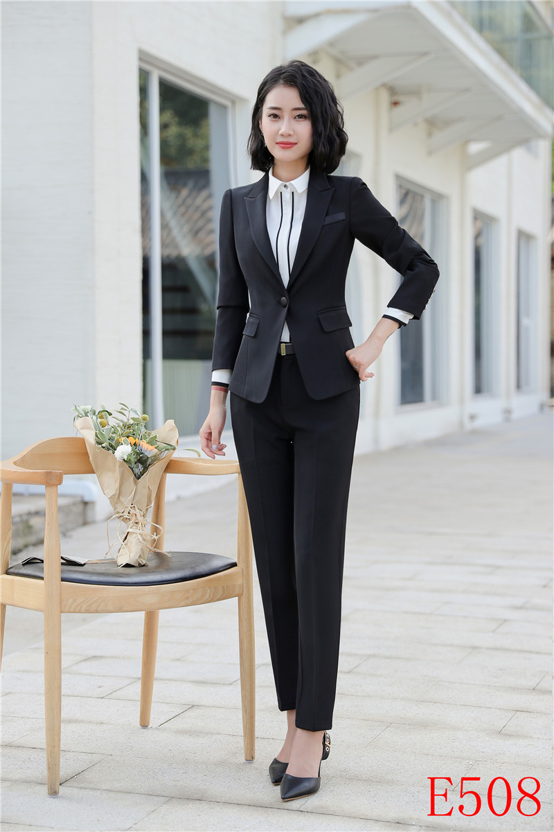 Formelle Et Vêtements Ensembles Uniforme Styles Pantalons Noir Bleu Veste Costumes Travail Bureau Dames Blazer De marine Busienss Femmes Noir FqrKXqBw