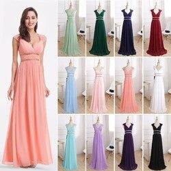 Женское вечернее платье Ever Pretty, длинное платье темно-синего/белого цвета с треугольным вырезом без рукавов, модель 2020