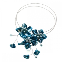 2018 Europe brand Luxury Handmade blue shell white Czech glass seed beads Wrap necklace Jewelry Women Gift Party