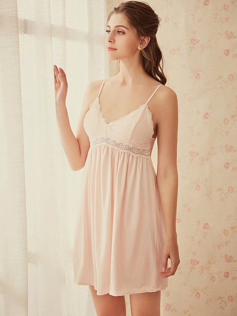 Female Sleeveless Lace Nighty Sexy Sleepwear Sleep Sleepshirt Sexy lingerie  Women Nightwear Night Dress Lady Cotton Nightgown e9878aaef