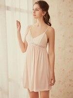 Female Sleeveless Lace Nighty Sexy Sleepwear Sleep Sleepshirt Sexy lingerie Women Nightwear Night Dress Lady Cotton Nightgown