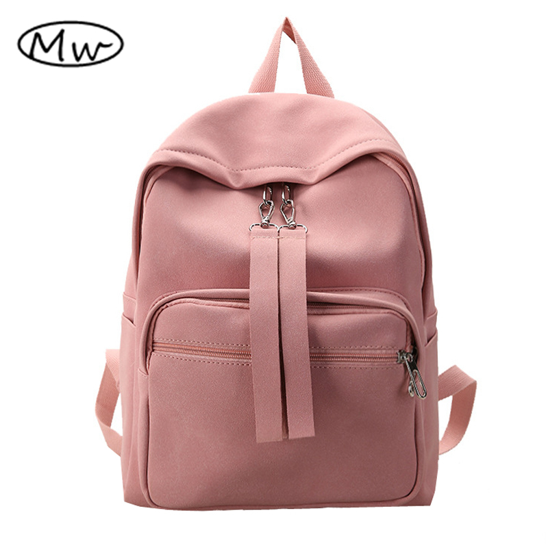 Moon Wood Candy Color Women Solid PU Leather Scrub Backpack Girls Backpack School Bag Students Travel Bag Rucksack Mochila 2017 new women leather backpacks students school bags for girls teenagers travel rucksack mochila candy color small shoulder bag