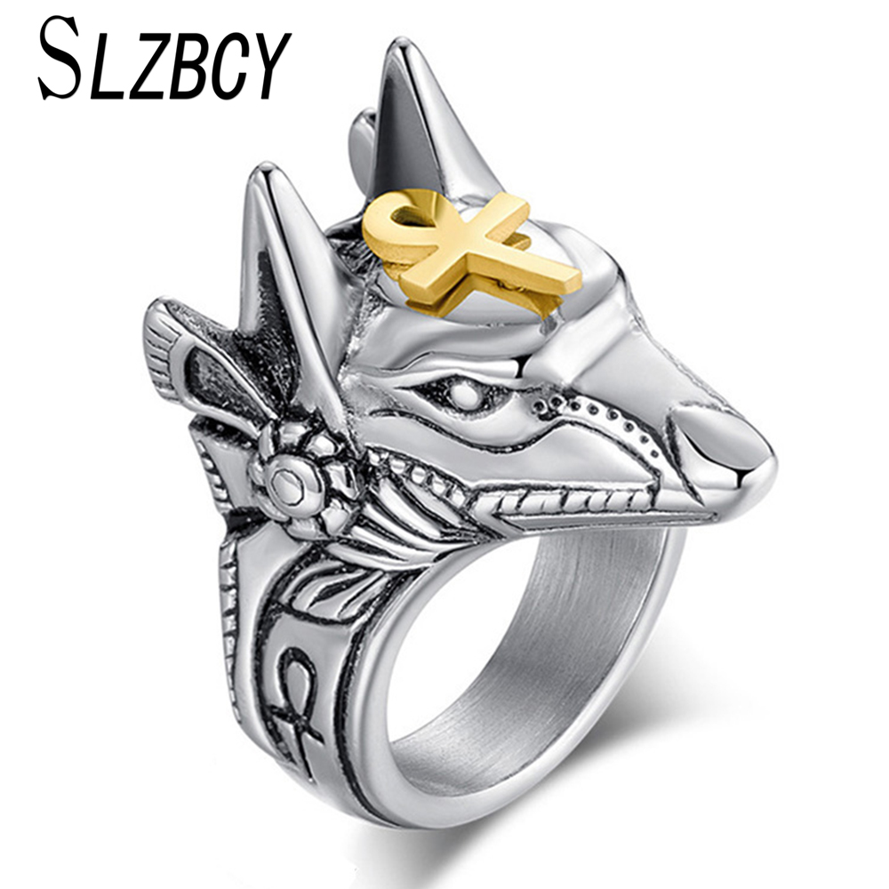SLZBCY Finger-Rings Wolf-Head Punk Cross-Anubis Retro Jewelry Egypt Stainless-Steel Statement