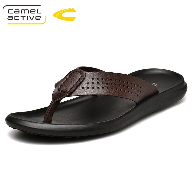 Мужские шлепанцы Camel Active, летние туфли из натуральной кожи для прогулок, пляжная обувь большого размера, 2019 Вьетнамки      АлиЭкспресс