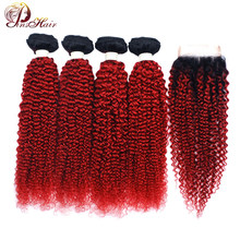 Pinshair 1B Red Human hair Bundles With Closure Burgundy Ombre Brazillian afro kinky curly Hair 4 Bundles With Closure Non-Remy(China)
