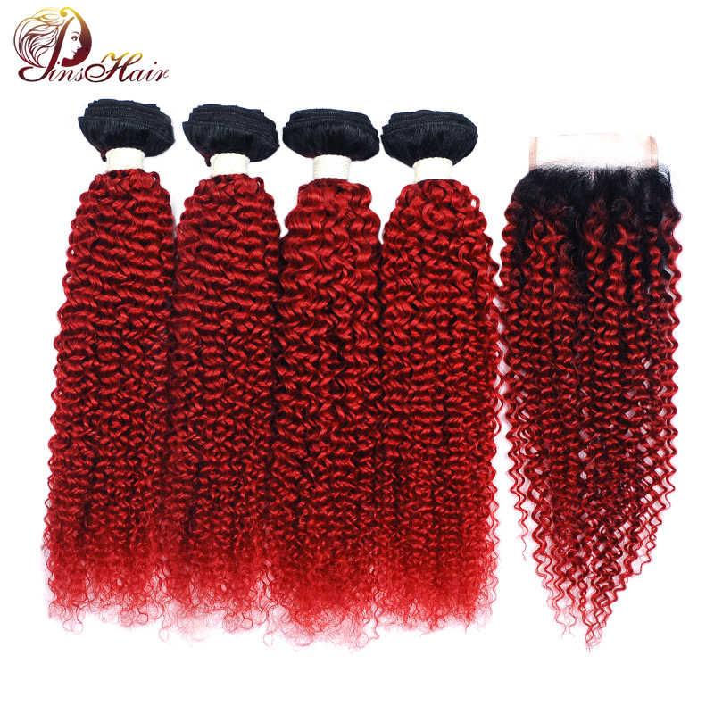 Pinshair 1B Vermelho cabelo Humano Pacotes Com Fecho de Borgonha Ombre Brazillian afro crespo Cabelo encaracolado 4 Pacotes Com Fecho Não -Remy