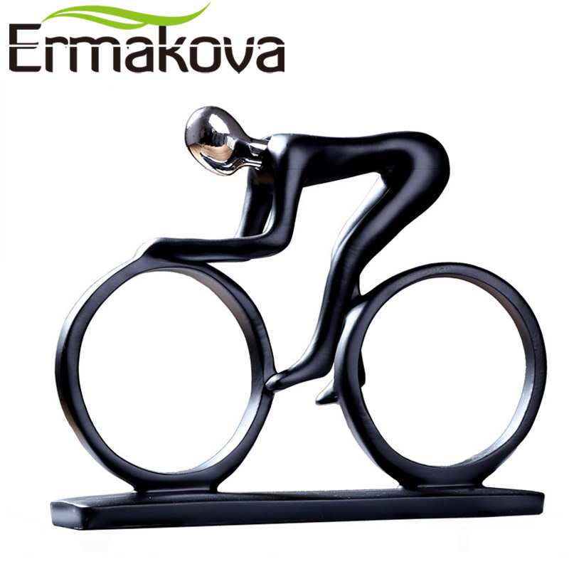 ERMAKOVA Modern Abstract Resin Bicycler Cyclist Statue Bicycle Rider Statue Bike Racer Rider Figurine Office Living Room Decor