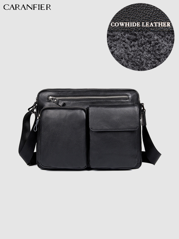 CARANFIER Mens Travel Bags First Layer Genuine Cowhide Cowhide Casual Shoulder Bags Waterproof Zipper Male Small Crossbody Bags