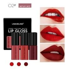 3 pcs Matte Lipstick Fashion Makeup Long-Lasting Liquid Lip Makeup Lipstick Easy To Wear Nude Red Lip Gloss Cosmetic недорого