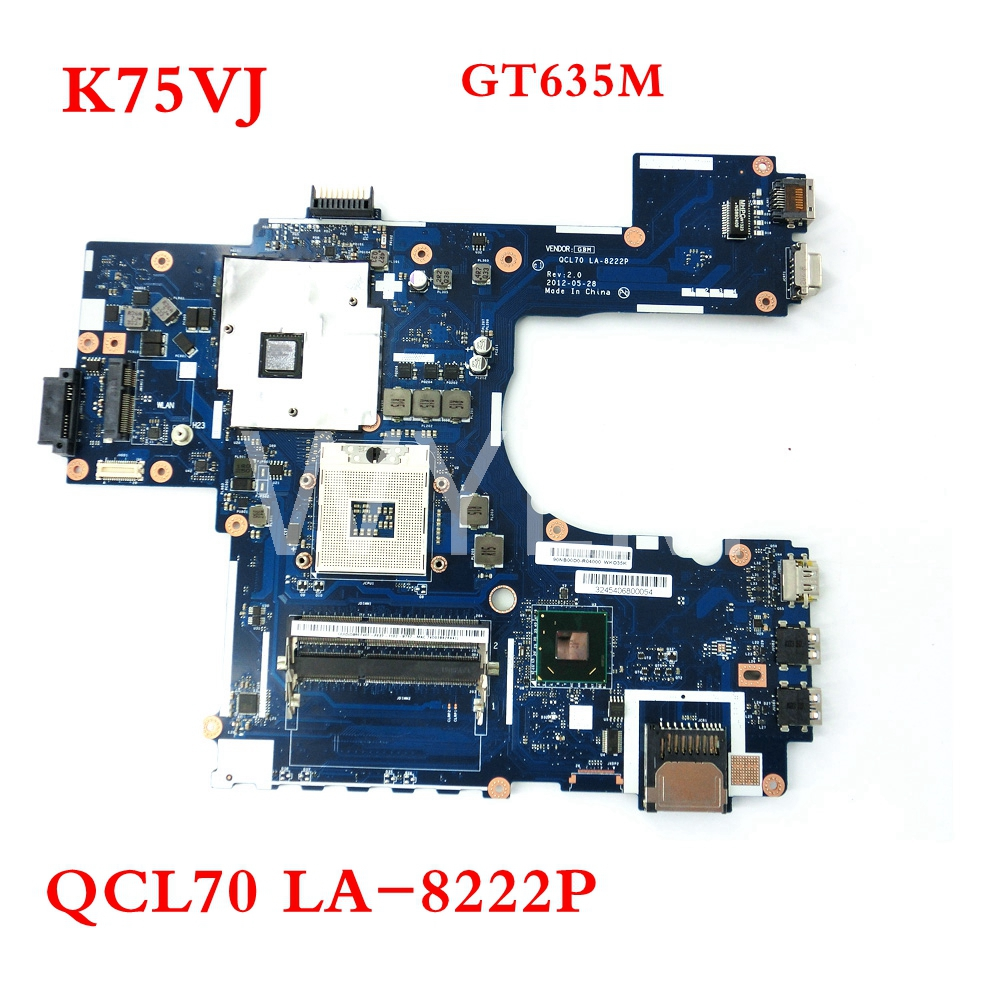 K75VJ QCL70 LA-8222P GT635M N13P-GLR-A1 mainboard For ASUS A75V A75VM K75V K75VJ K75VM R700VJ laptop motherboard Tested Working