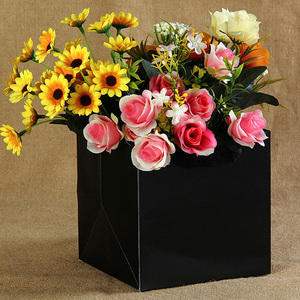 Image 5 - 100 יח\חבילה 4 צבעים כיכר פירות פרחים אריזת שקית נייר עם ידית כיכר תחתון קראפט שקית נייר מתנת תיק 4 גודל