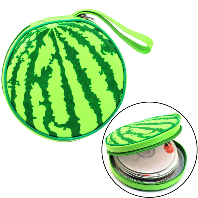Disc CD DVD Storage Case Holder Carry CD Box Wallet Cover Protect Watermelon Shape Organizer Zipper Bag MYDING