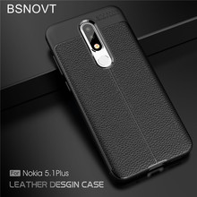BSNOVT For Nokia 5.1 Plus Case For Nokia X5 Cover Soft Silicone TPU Leather Shockproof Phone Case For Nokia 5.1 Plus Capa 5.86 crocodile pattern genuine real leather card holder flip case cover for nokia 6 1 plus nokia 6 nokia 6 2018 leather case capa