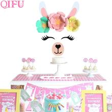 QIFU Alpaca Background Wall Decoration Paper Artificial Flowers Unicorn Happy BIrthday Party Wedding Supplies