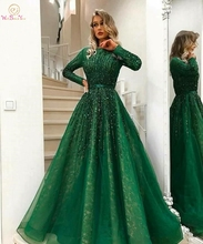 Arabic Dark Green Evening Dresses A Line Muslim 2019 Boat Neck Long Sleeve Lace Sequined Tulle Prom Party Plus Size