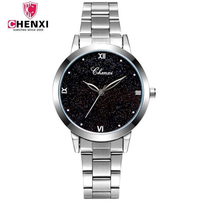 CHENXI Women Watches Top Luxury Brand Metal Bracelet Watch Silver Steel Strap Qu