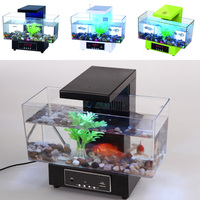 Mini USB Fish Tank Aquarium LED Light Sound Recycled Water Small Electronic Ecological Aquarium Fish Tank