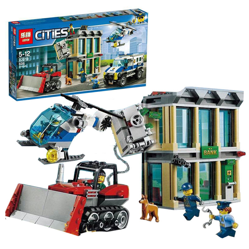 Lepin 02019 606Pcs City Series The Bulldozer Break-in set Children Educational Building Blocks Bricks Boy Toys Compatible 60140 1712 city swat series military fighter policeman building bricks compatible lepin city toys for children