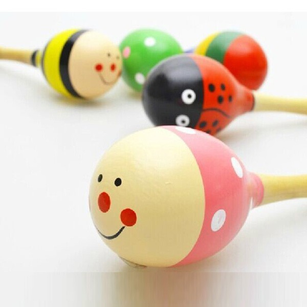 Cartoon Mini Infant Baby Rattle Toy Wooden Maracas Baby Toys 0 12 Months Educational Wood Kids Development Toys For Baby