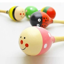 Cartoon Mini Infant Baby Rattle Toy Wooden Maracas Baby Toys 0 12 Months Educational Wood Kids