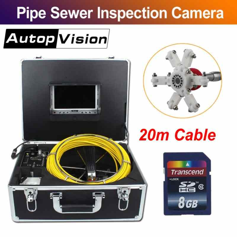 7D1 7 LCD 23MM Sewer Drain Pipeline Endoscope Camera with Pulley 20M Professional Pipe Sewer Inspection Tools with DVR function7D1 7 LCD 23MM Sewer Drain Pipeline Endoscope Camera with Pulley 20M Professional Pipe Sewer Inspection Tools with DVR function