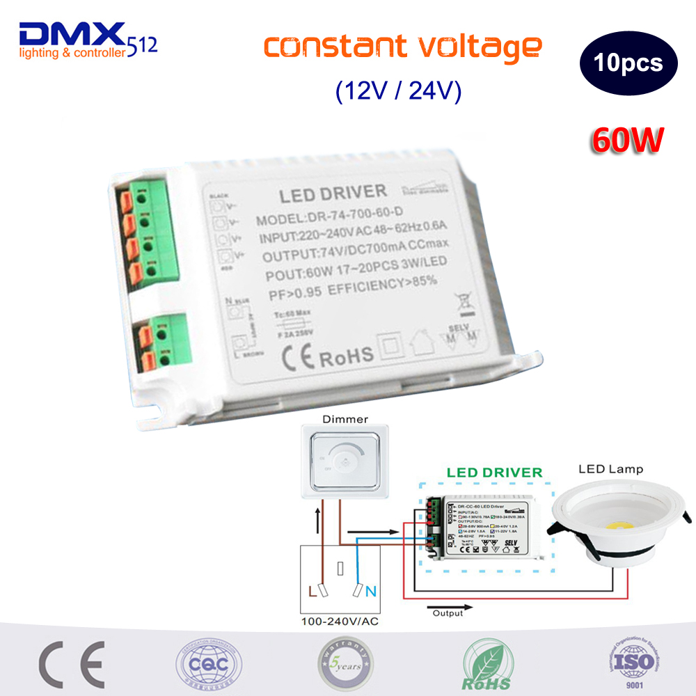 DHL Free shipping Triac Dimmable LED Driver Constant Voltage(DC12V/DC24V) 60W LED Power Supply 60w 80w constant voltage triac dimmable led driver waterproof transformer ac180 250v 90 130v to12 24v power supply for lighting