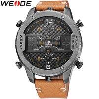 WEIDE Top Luxury Brand Sport Watches Man Classic Genuine Leather Strap Week Date Quartz Wrist Watch