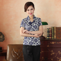 Vintage Blue Flower Chinese National Blouse Cotton Short Sleeve Shirt Classy Floral Slim Clothing S M