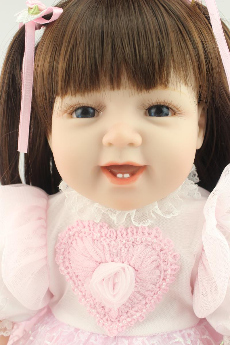 Cute Silicone Girls Doll with Clothes,Lovely 50 Inch Lifelike Smiling Girl Princess Doll Toy for Children Cosplay lifelike american 18 inches girl doll prices toy for children vinyl princess doll toys girl newest design