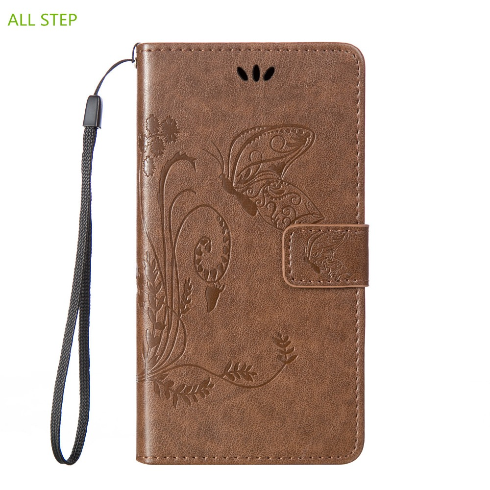 ALL STEP Embossed Leather Flip Case For LG G3 G4 Mini Cover Wallet Stand Card Slots