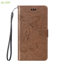 ALL STEP Embossed Leather Flip Case For LG G3 G4 Mini Cover Wallet Stand Card Slots Magnet Lanyard For LG G5 Case Protector Capa