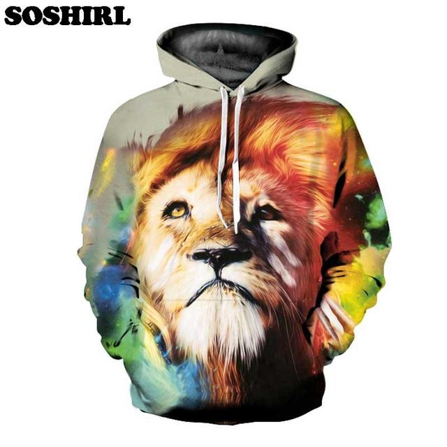 Soshirl animal Sudaderas 3D all over imprimir color León