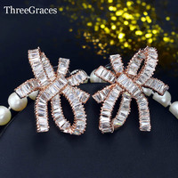 ThreeGraces Korean Fashion Women Party Jewelry Rose Gold Color White Cubic Zirconia Crystal Big Bowknot Stud