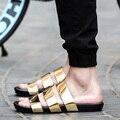 Новый arrival2016 лето мужской сандалии золото кожаные ботинки открытым носком сандалии тапочки мода повседневная пляж гладиаторские сандалии плоские