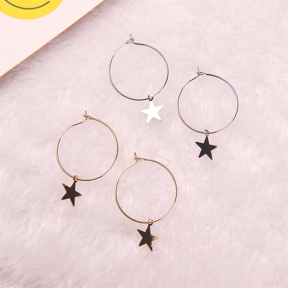 1 Pair Fashion Simple Personality Metal Star Big Circle Drop Earrings Women Girl Trendy Earrings Jewelry GoldSilver