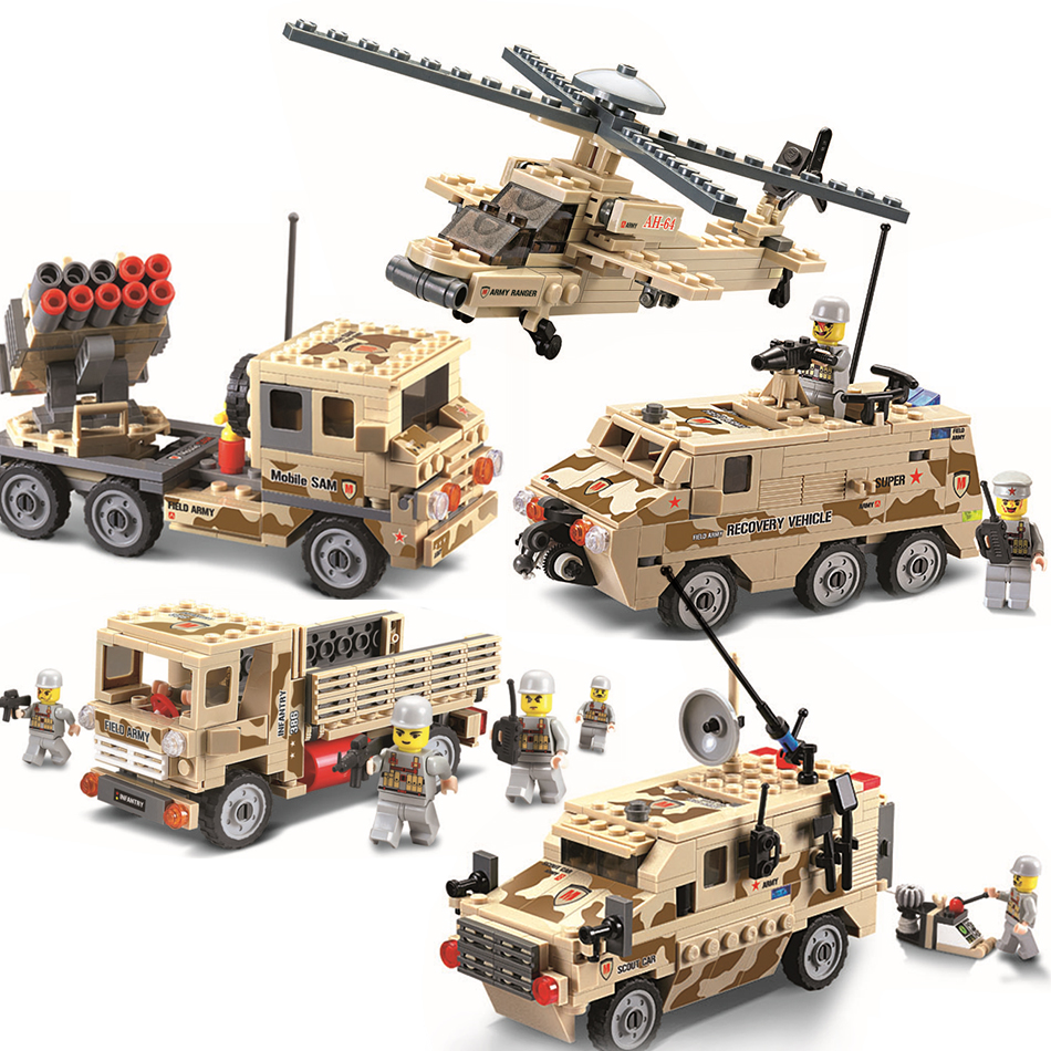 KAZI Helicopter Missile Scout Car Building Blocks Educational Jigsaw DIY Construction Bricks Toys For Children Compatible Leoged kazi 608pcs pirates armada flagship building blocks brinquedos caribbean warship sets the black pearl compatible with bricks
