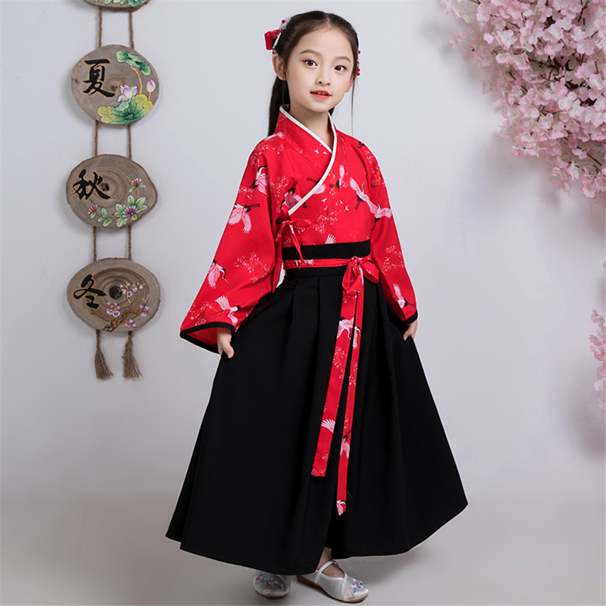 Children Japanese Kimono Dress Ancient Red Crane Printed Outfits Oriental Fairy New Year Party Wear Girls Chinese Hanfu